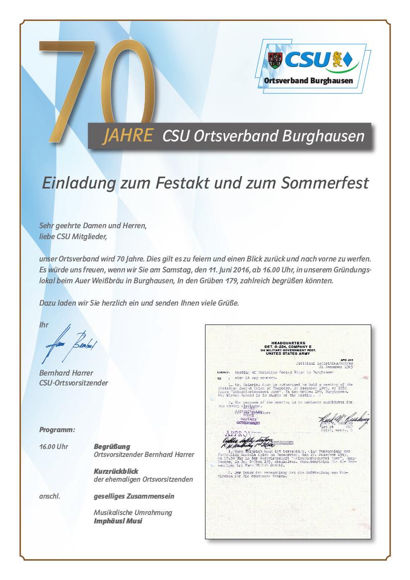 Einladung 70 Jahre CSU Burghausen